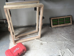 In-House Staining of Wood, Exterior, French Casement Windows, Sept 2018